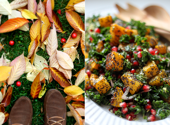 Poppy Seed-Crusted Butternut Squash with Kale and Pomegranates ...