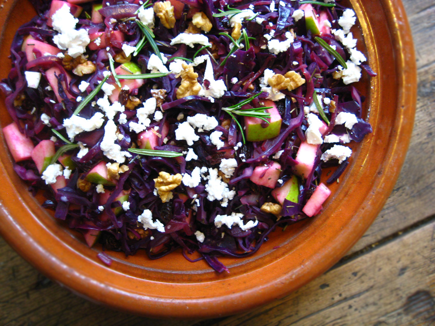 Cabbage Salad with apples and optional goat cheese! mynewroots.blogsp ...