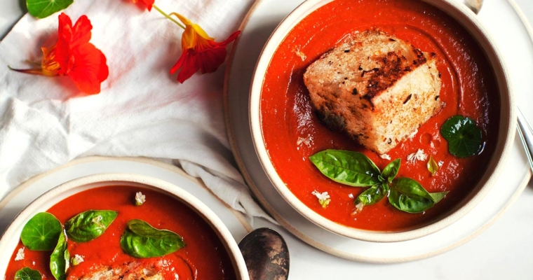 Bell Pepper Bisque with Giant Croutons