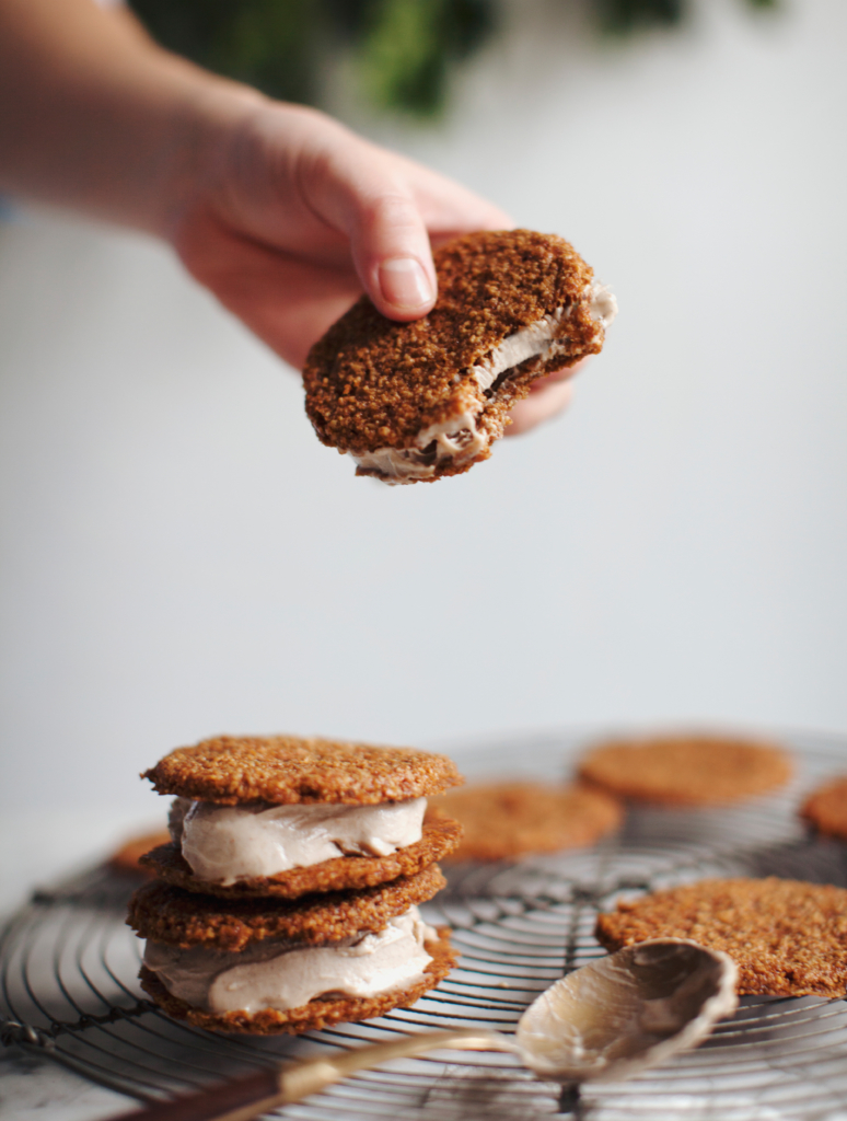 Gingersnap Eggnog Ice Cream Sandwiches